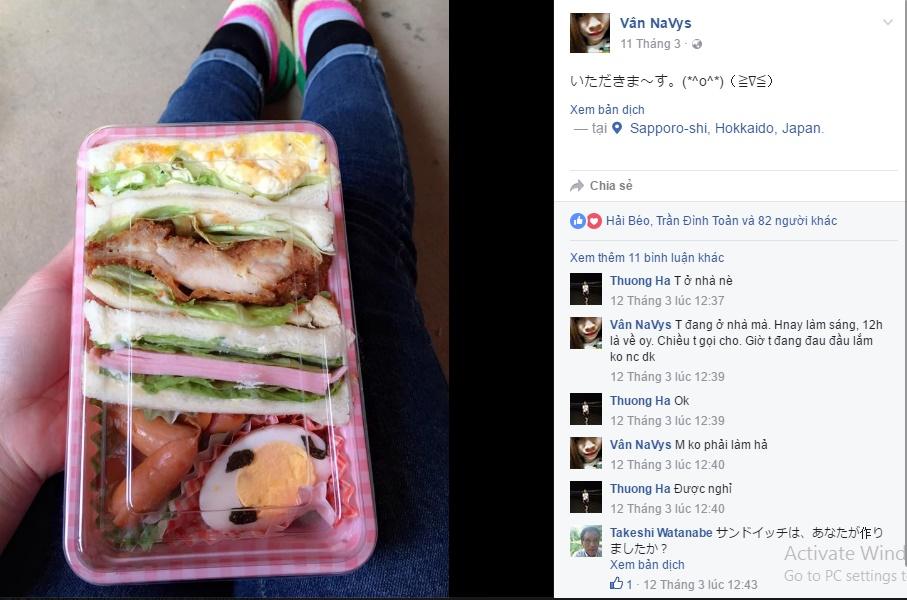 chia sẻ về một bữa ăn của một bạn thực tập sinh tại Nhật Bản