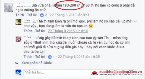 chi phi xuat khau lao dong nhat ban  2017 là bao nhiêu