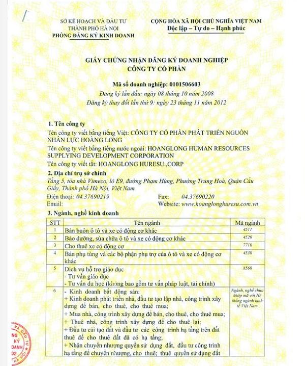 Giấy phép công ty Hoàng Long - công ty XKLĐ Nhật Bản tại Hà Nội