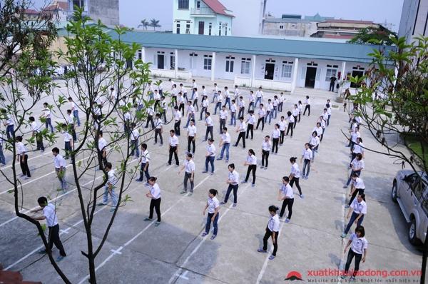 Giờ tập thể dục của học viên tại công ty TMS Nhân lực - công ty XKLĐ Nhật Bản tại Hà Nội