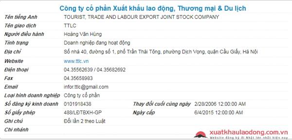 Công ty TTLC công ty xkld uy tín ở Hà Nội