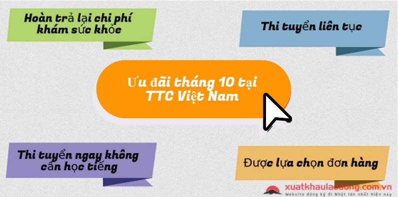 Cơ hội đỗ 100% đơn hàng XKLĐ Nhật Bản tháng 10/2017 tại TTC Việt nam