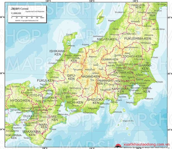 Bản đồ vùng Chubu, Nhật Bản