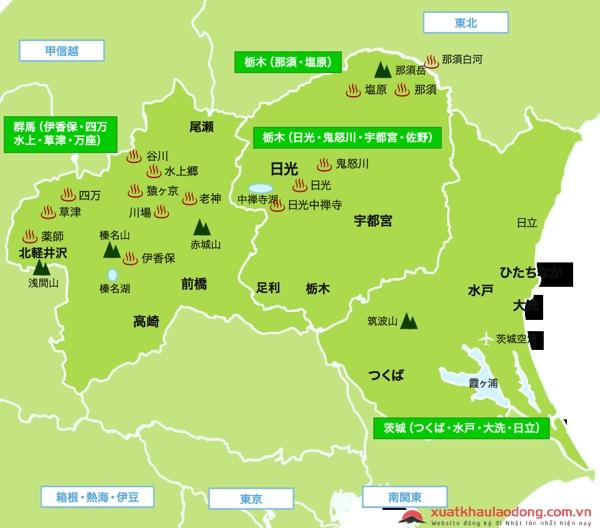 Bản đồ vùng Kanto, Nhật Bản