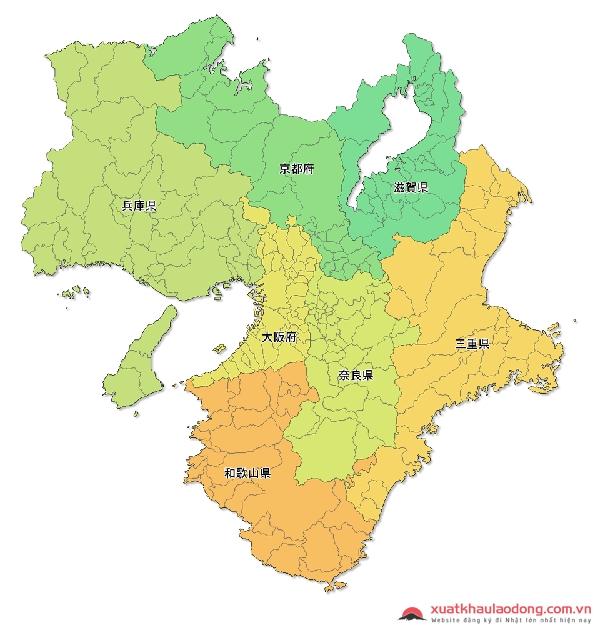 Bản đồ các tỉnh vùng Kinki, Nhật Bản