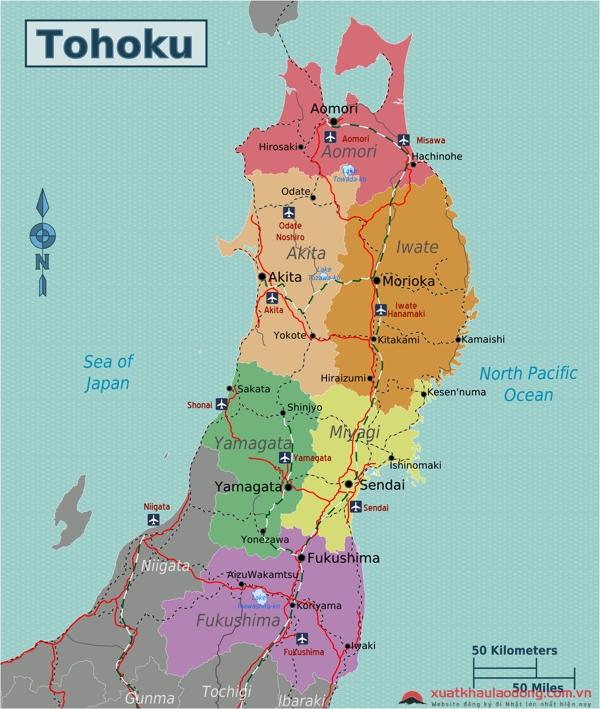Bản đồ vùng Tohoku, Nhật Bản