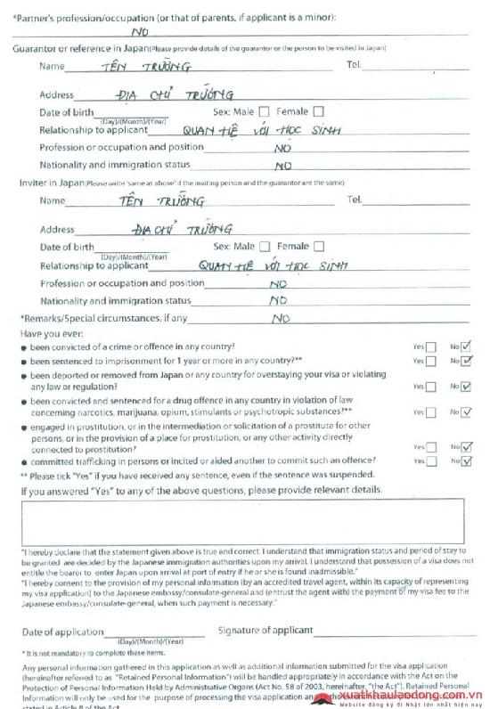 hướng dẫn điền form xin visa nhật bản