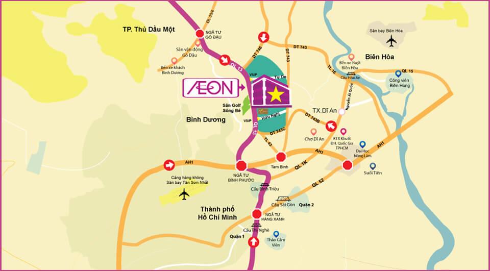 Đường đến trung tâm mua sắm AEON Bình Dương Canary