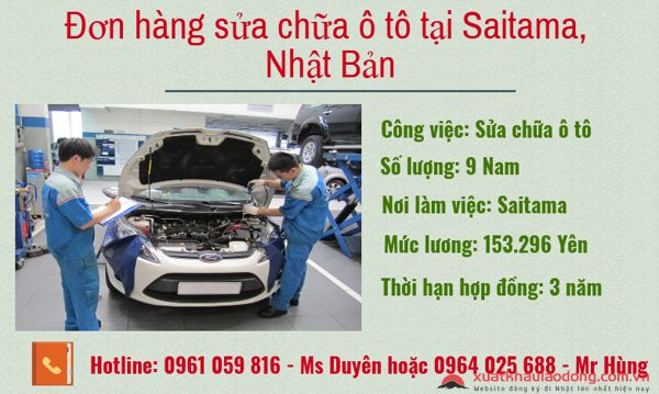 Tuyển gấp 15 Nam đơn hàng ô tô tại Saitama, Nhật Bản lương 31 triệu/tháng