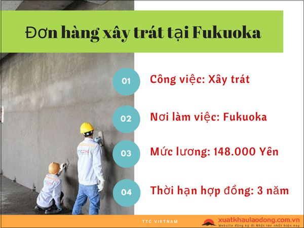 thông tin đơn hàng xây trát tại fukuoka