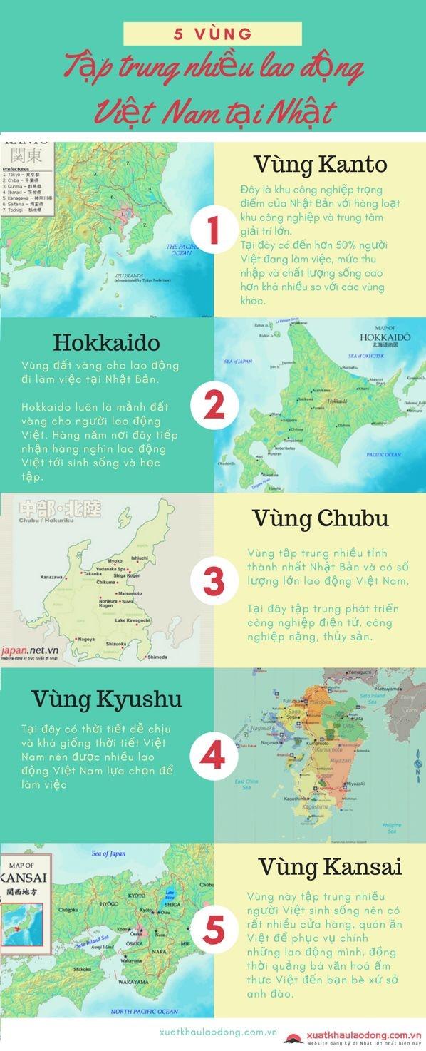 vùng tập trung nhiều lao động Việt Nam tại Nhật Bản