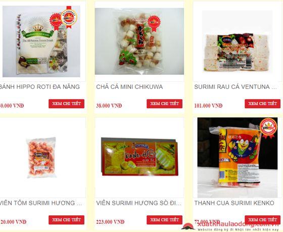 Surimi được bán trên website