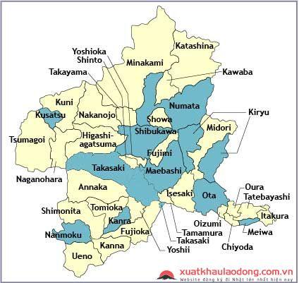Bản đồ tỉnh Gunma