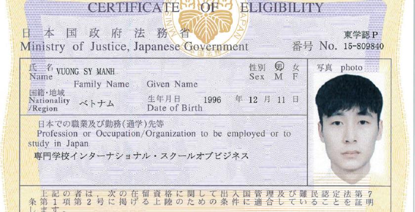 Thủ tục và thời gian xin cấp giấy chứng nhận tư cách lưu trú COE tại Nhật Bản