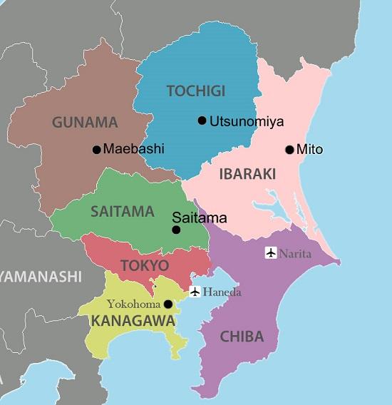 bản đồ của tình Chiba, Nhật Bản
