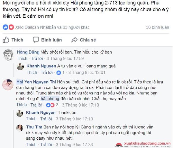 bình luận đánh giá về công ty Hải Phong - công ty XKLĐ Nhật Bản tại Hà Nội