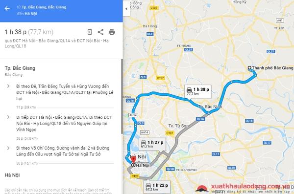 cách đi từ Bắc Giang ra Hà Nội