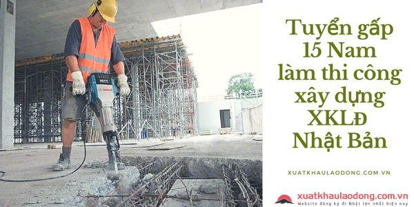Tuyển gấp 15 Nam làm xây dựng - khoan cắt và đổ bê tông tại Nhật Bản