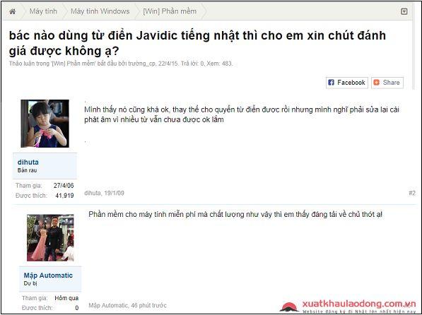 đánh giá từ điển Việt - Nhật Javidic