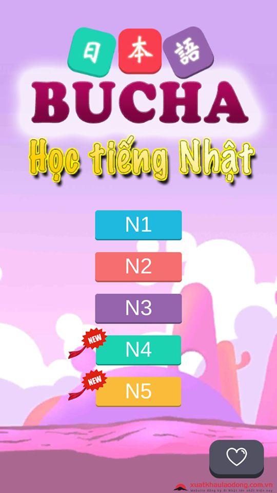 Giao diện game Bucha - học tiếng Nhật