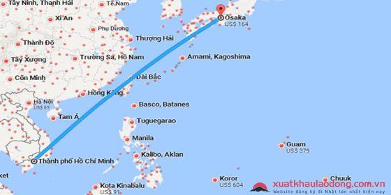Bay từ thành phố Hồ Chí Minh sang Osaka, Nhật Bản