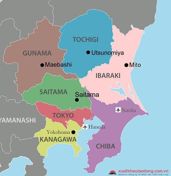 Vị trí địa lý tỉnh Gunma, Nhật Bản