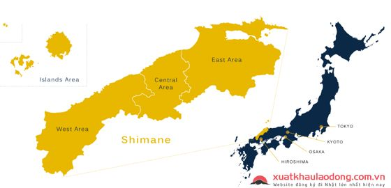 Bản đồ tỉnh Shimane Nhật Bản
