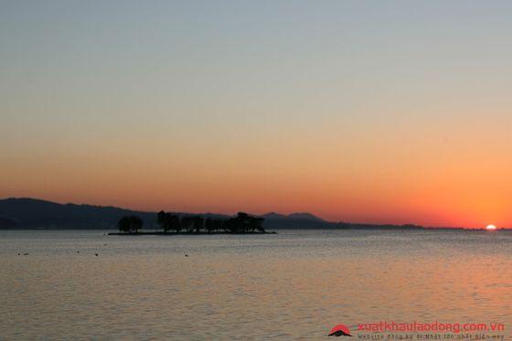 Hoàng hôn trên hồ Shinji - Shimane Japan