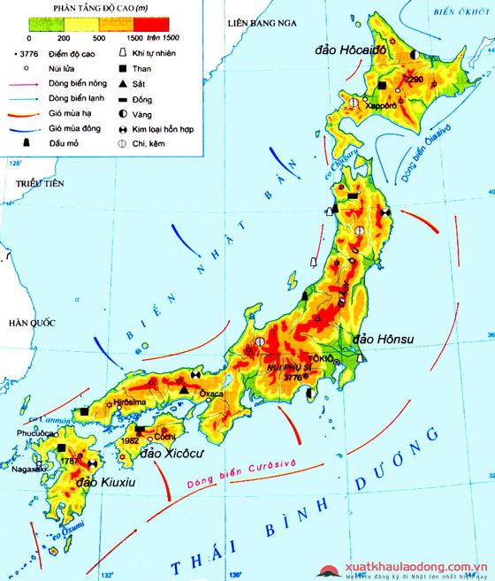 Đặc điểm địa hình Nhật Bản