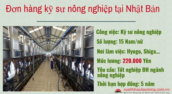Tuyển gấp 15 Nam đơn hàng kỹ sư nông nghiệp đi Nhật lương 50 triệu/tháng