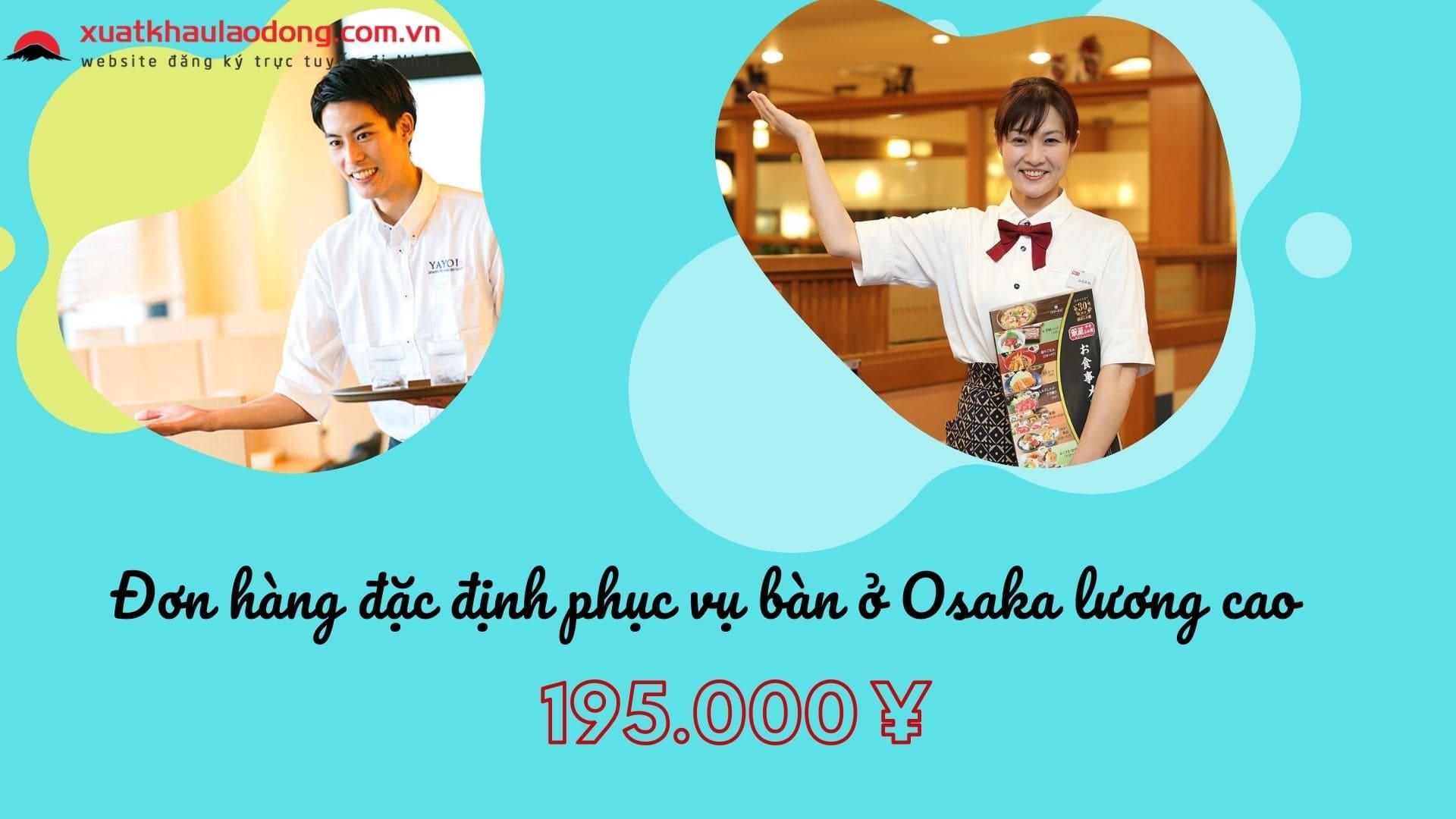 Đơn hàng đặc định làm phục vụ bàn tại nhà hàng cao cấp ở Osaka, Nhật Bản