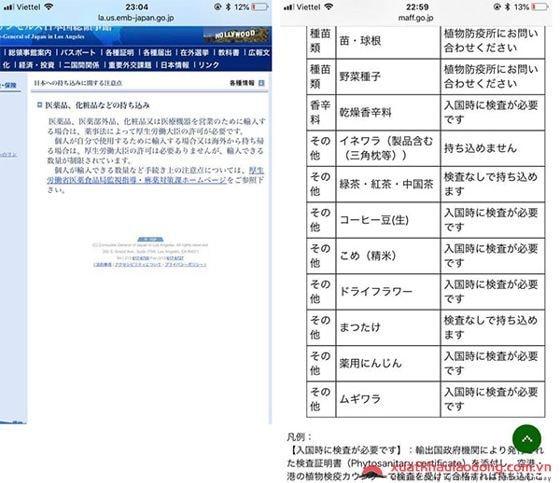 những đồ nghiêm cấm mang sang Nhật
