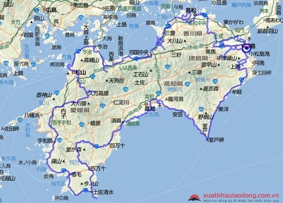 Bản đồ vùng Shikoku, Nhật Bản