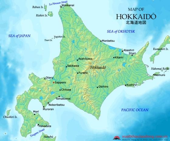 Bản đồ vùng Hokkaido, Nhật Bản