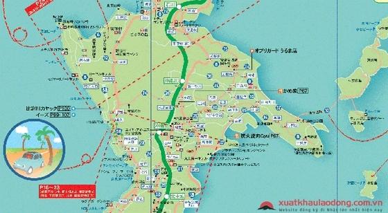 Bản đồ các tỉnh vùng Okinawa, Nhật Bản