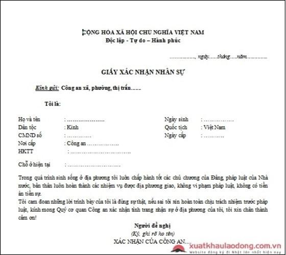 Mẫu giấy xác nhận nhân sự XKLĐ Nhật Bản