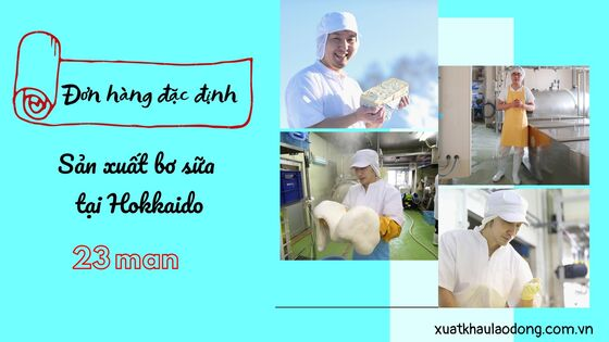 Đơn hàng đặc định sản xuất bơ sữa tại Hokkaido lên đến 23 man/tháng