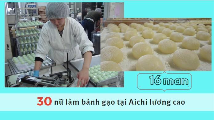 Đơn hàng sản xuất bánh gạo mochi tại tỉnh Aichi lương 2 triệu/ngày