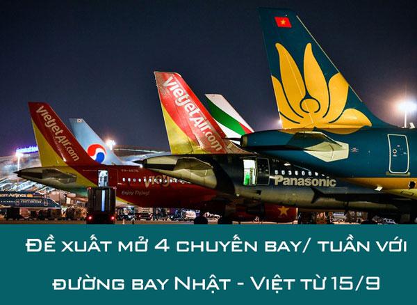 Đề xuất mở 4 chuyến bay/ tuần với đường bay Nhật - Việt từ 15/9